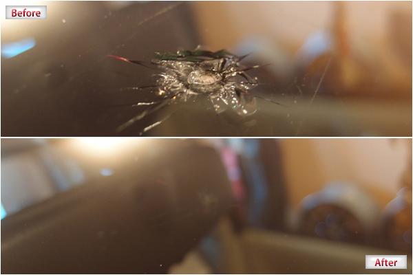 ウインドリペア・ガラスリペアの施工前施工後、他店で断られる状態の悪いヒビver1